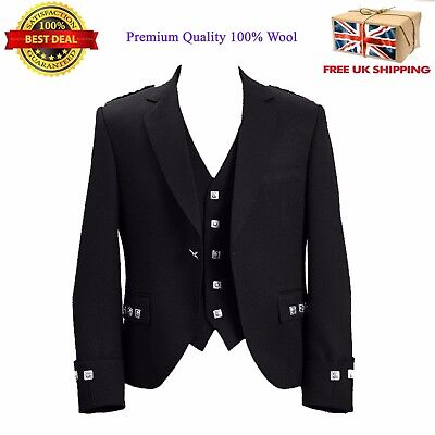 100% Wool Blazer Traditional Scottish Argyle kilt Jacket & Waistcoat 6 Colours