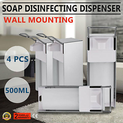 New 500ML 4Pack Wall Mount Soap Dispenser Shower Shampoo Liquid Bathroom Update