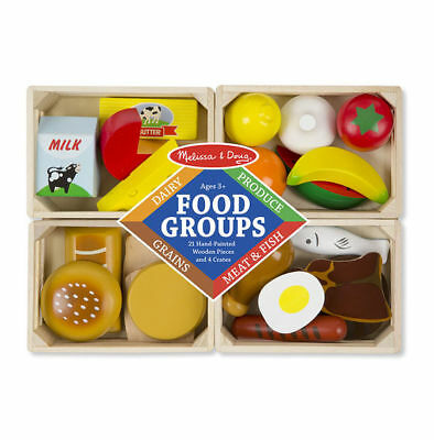 New Melissa & Doug Wooden Food Groups Set Pretend Play Grains Dairy Meat Fish