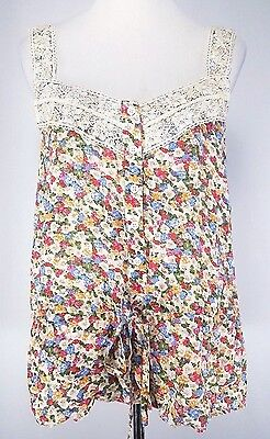 NWT Sugarlips Womens Tank Top Sz L Floral Cameo Wide Shoulder Straps Lace Accent