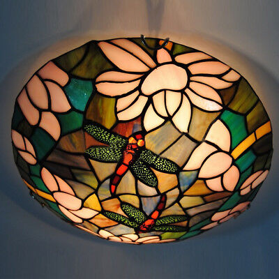 "12"" Tiffany Ceiling Light Country Dragonfly Bathroom Lamp Hall Pendent Fixture"