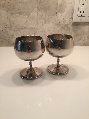 Antique Italian Pair Of Brass Footed Cups In Silver-tone
