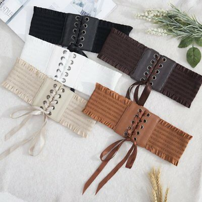 Women's Vintage Lace Up Stretch Waist Belt Wide Leather Elastic Corset Waistband