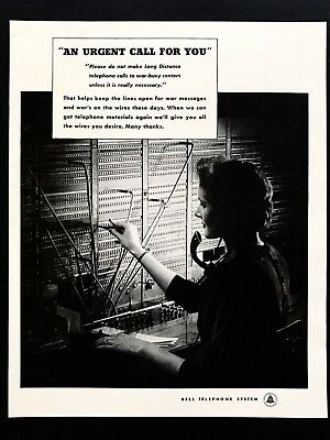 1943 Vintage Print Ad BELL TELEPHONE SYSTEM Operator Switchboard Image