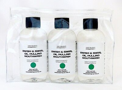 3 x 100ml Peppermint Coconut Oil Pulling Mouthwash Supplied with Clear