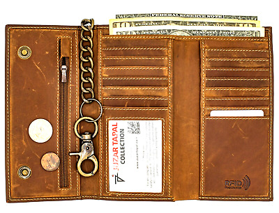 Biker Crazy Horse Brown Mens Leather Long Tri-fold Chain Wallet RFID Theft Safe