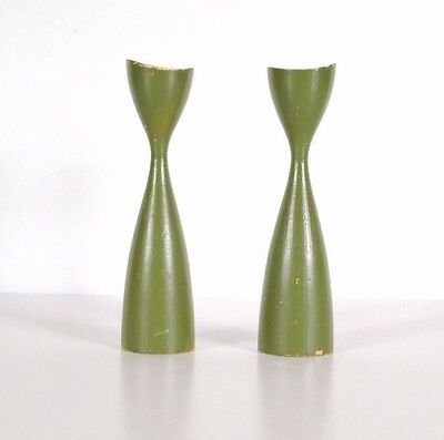 Vintage Pair of Mid Century Danish Modern Wood Candlesticks in Green Marked