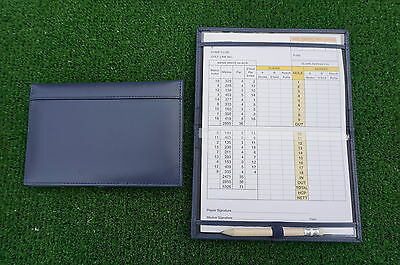Traditional Navy leather golf scorecard holder - Original and Best