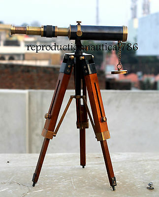 Design Two Tone Antique Brass Spyglass Telescope With Wooden Tripod Scope Decor