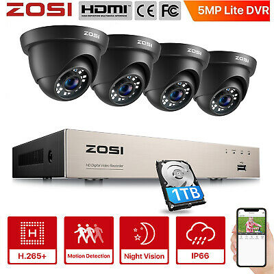 ZOSI 1TB 8CH 1080P 1500TVL CCTV 720P Security Surveillance Camera System Gift