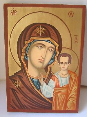 Hand Painted Russian Icon Our Lady of Kazan / Mother of god Virgin Mary Christ