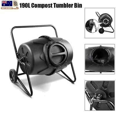 190L Aerated Compost Tumbler Bin Garden Composter Recycling Food Waste Lockable