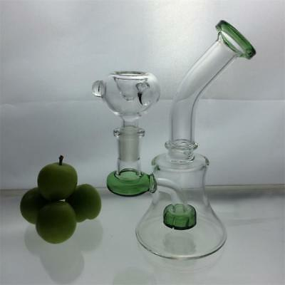 Hookah Water Pipe Bong Glass 7 inch Green glass handmade Clear tire PEAC amazing