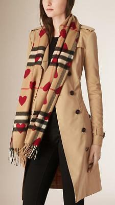 The Classic Burberry Cashmere Scarf in Check and Hearts NWT (new with tags)