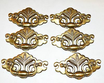 Lot Vintage Drawer Pull Brass Chippendale Style Federal Wheat  K98