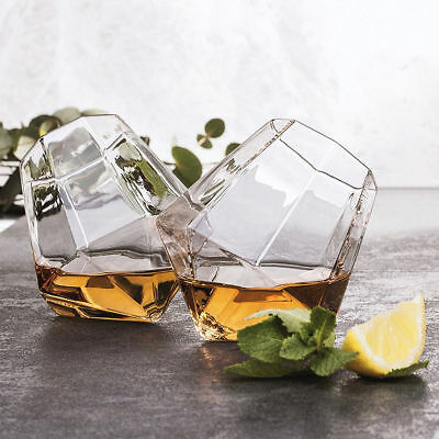 Diamond Glasses Set of 2 Whiskey Spirit Glass Tumblers Unique Drinking Gift BJ