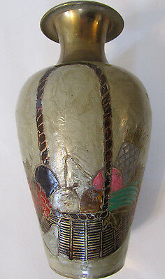 "Vintage Large 8"" Brass Garden Vase Hand Painted Basket of Fruits Retro Bud Vase"