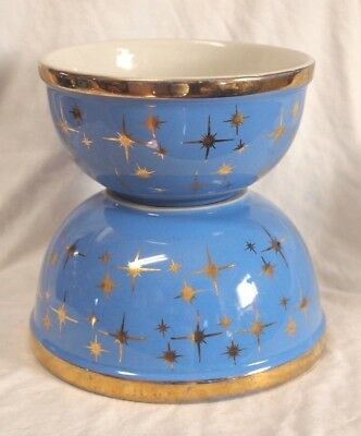 Mid Century Modern Hall's Mixing Bowls Blue Gold Atomic Star burst Retro Kitchen