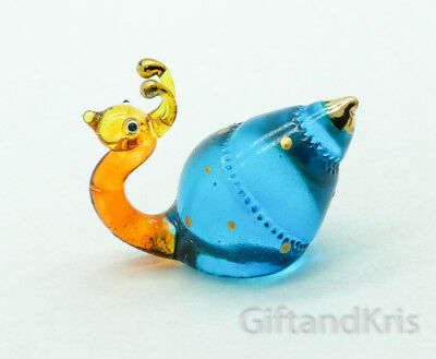 Figurine Animal Hand Blown Glass Snail Gold Trim - GNSN016