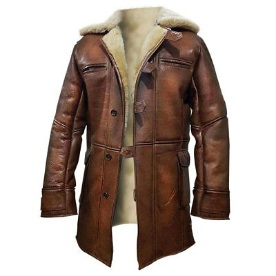 Dark Knight Rises Bane Coat Shearling Ginger Brown Genuine Leather Bane Jacket