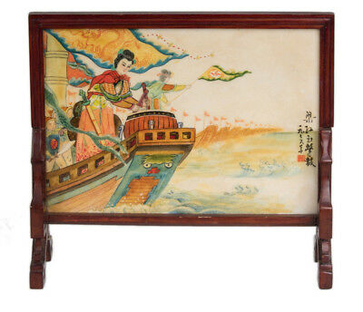 China 20. Jh. Porzellan Bild - A Chinese Porcelain Table Screen 'Liang Hongyu'