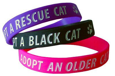 Adopt A Rescue Cat Charity Wristbands, Set Of 3, Pink Black Purple, 100% Charity