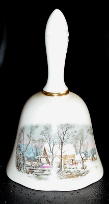Vintage AVON Award CURRIER AND IVES  Winter Scene BELL dated 1978  Perfect!