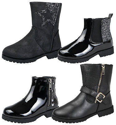 BMS Buckle My Shoe Girls Faux Leather Mid Calf Glitter Ankle Boots Shoes Size