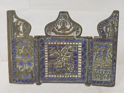 Antique Early Russian Greek Religious Icon Brass Bronze Triptych Enamel