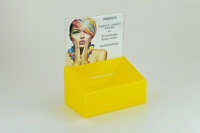3 x Suggestion / Collection Box with A5L Poster Holder - PDS9474 Yellow A5L