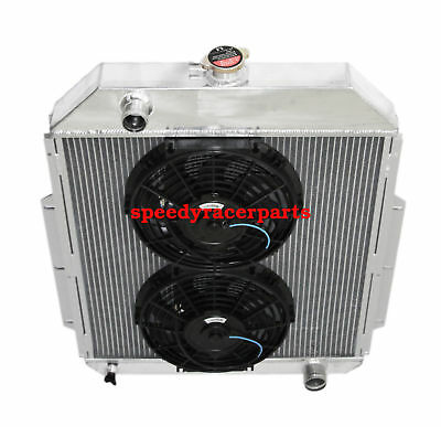 "FOR 48-52 Ford F1-F8 Truck w/Chevy L6/V8 3Row Aluminum Racing Radiator+10"" Fan"