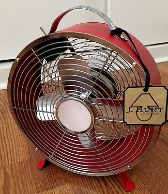 """NEW Electric Fan Industrial Vintage  Retro Style by J. HUNT 10"""" RED Very COOL"""