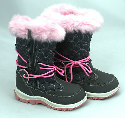 Girls Kids Snow Boots Thermal Fur Lined BRANDED Wellies Pink Grey Sizes 10 11