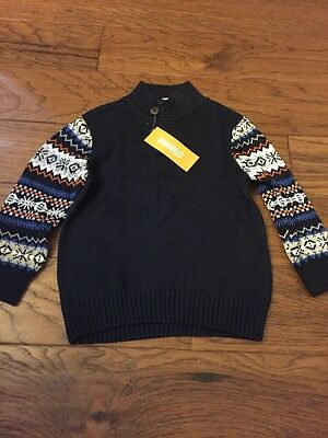 NWT Gymboree Baby Boy Navy FALL Winter Holiday Sweater 2 2T