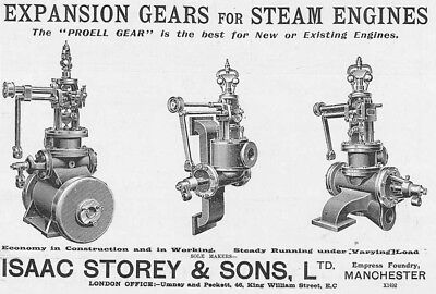 ISAAC STOREY & SONS Manchester,  Steam Engine Gears - Old Engineer Advert 1909