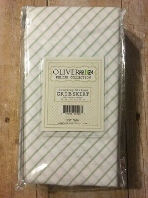 Oliver B Relish Collection Dove Grey Stripes Crib Skirt 28 in x 52 in. New