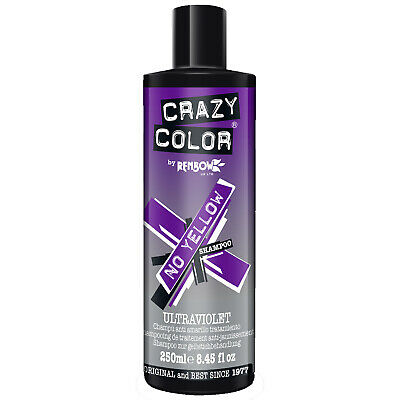 Crazy Color No Yellow Ultraviolet Shampoo Blonde Hair Toner Sulphate Free 250ml