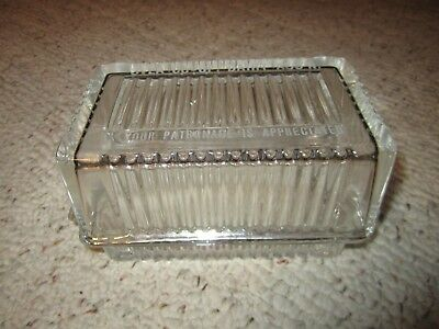 Vintage Clear Glass Advertising Butter Dish Svea Dairy Ass'N