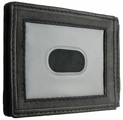 Paul & Taylor Black Leather Front Pocket Credit Card ID Wallet