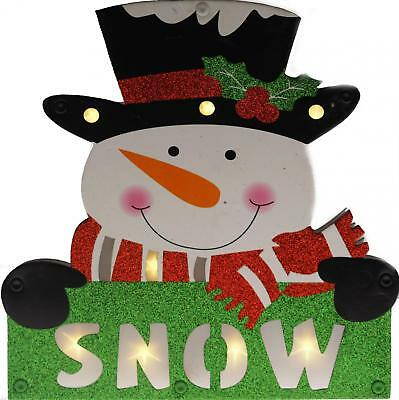 Light Up LED Snowman Christmas Free Standing Sign Decoration - Battery Operated