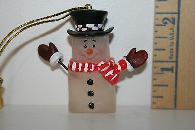 Christmas Ornament - Snowman Ice Cube - Top Hat - Red Scarf - Mittens