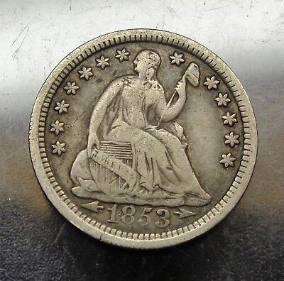 Nice original VF Very Fine toned 1853 arrows Seated Liberty silver 5C half dime