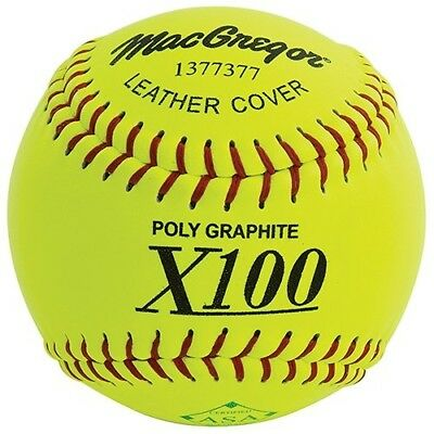 MacGregor X52RE ASA Slow Pitch Leather Softball, 30cm (One Dozen). Best Price