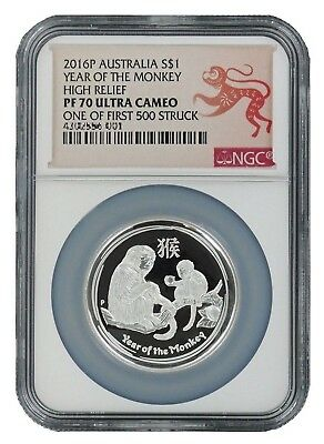 2016 1oz Australia Year of the Monkey | High Relief | NGC PF70 UC | 1 of 1st 500