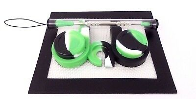 5ml Silicone Jar Container Silicone Mat Chrome Stainless Tool Dab-Station Kit