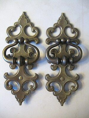 (2) Vintage Brass Finish Drawer Pulls / Handles With Backplates  --  W/ Screws