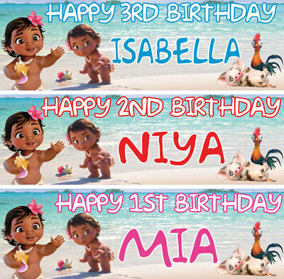 2 X personalized baby moana birthday banner chilidren nursery kids party deco