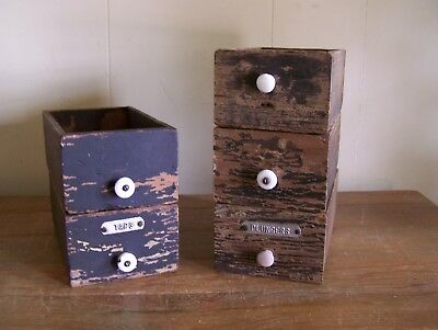 Lot Of 5 Antique Vintage Wood Tool Drawers Salvage Chippy  Paint Taps Plungers
