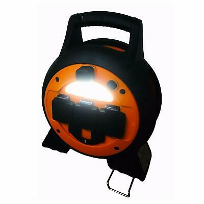 MAINS 3 way CAMPING ROLLER 15m HOOK UP LEAD REEL with LIGHT + USB PORTS caravan