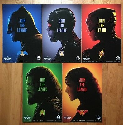 2017 DC JUSTICE LEAGUE  AT&T POSTERS FULL SET of 5 NEW